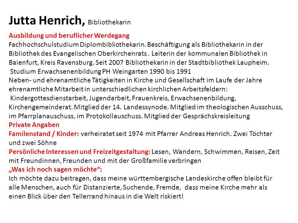 Ausbildung und beruflicher Werdegang Fachhochschulstudium Diplombibliothekarin.