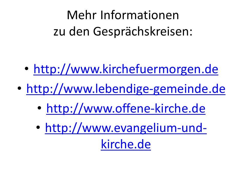 Mehr Informationen zu den Gesprächskreisen: http://www.kirchefuermorgen.de http://www.lebendige-gemeinde.de http://www.offene-kirche.de http://www.evangelium-und- kirche.de http://www.evangelium-und- kirche.de