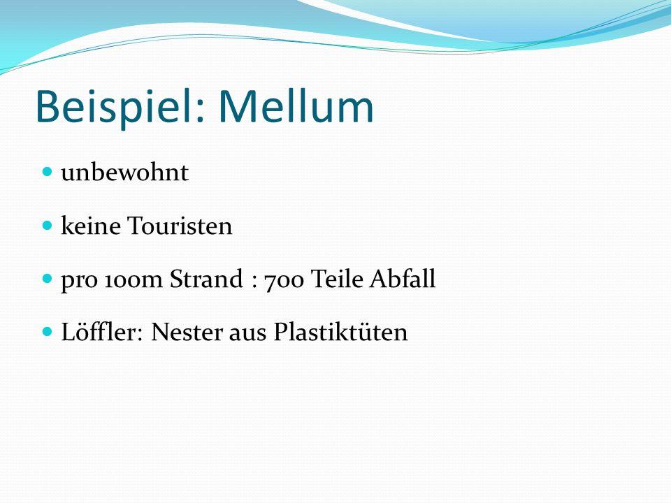 Beispiel: Mellum unbewohnt keine Touristen pro 100m Strand : 700 Teile Abfall Löffler: Nester aus Plastiktüten