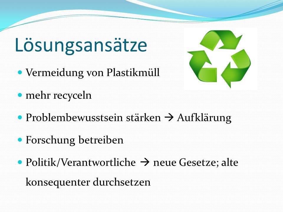 Lösungsansätze Vermeidung von Plastikmüll mehr recyceln Problembewusstsein stärken Aufklärung Forschung betreiben Politik/Verantwortliche neue Gesetze