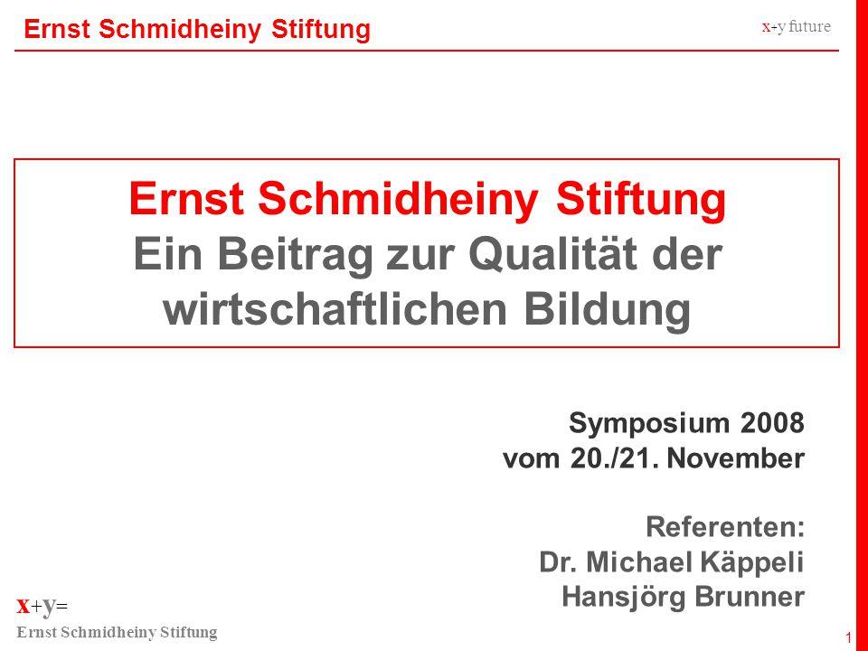 x + y = Ernst Schmidheiny Stiftung x + y future Wirtschaftswochen in der Schweiz Ergebnisse Symposium 12 Teilnehmende 74% der Fachlehrkräfte nehmen jährlich oder sporadisch am Symposium teil 45% der Schulen nehmen nie am Symposium teil 75% der IHK nehmen jährlich am Symposium teil Konzept 57% der Fachlehrkräfte sind der Meinung, dass ein Block mit WIWO-Bezug Bestandteil des Symposiums sein sollte