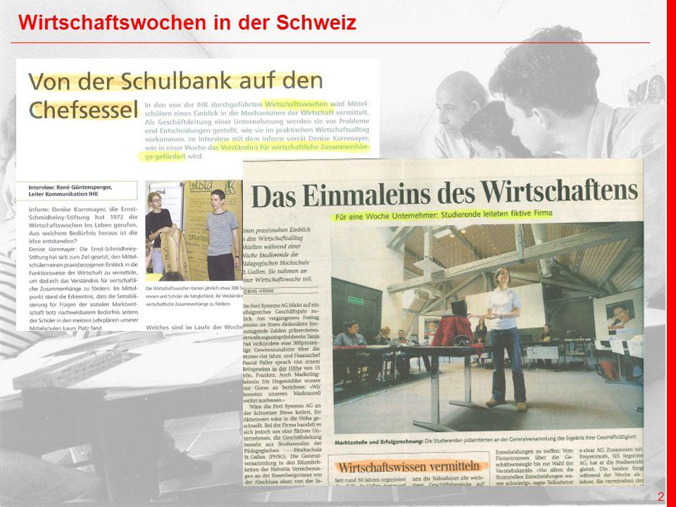 x + y = Ernst Schmidheiny Stiftung x + y future 3 Wirtschaftswochen in der Schweiz (seit 1974) Eine Erfolgsstory mit über 30-jähriger Tradition!