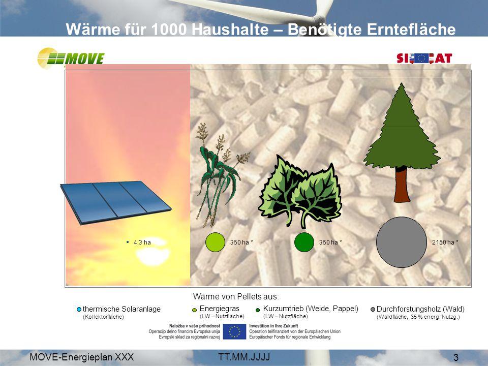 MOVE-Energieplan XXXTT.MM.JJJJ 4 Biogas (Mais, Gras) Synthetischer Treibstoff (Feste Biomasse) Pflanzenöl (Sonnenblume, Raps) Biodiesel (Sonnenblume Raps) Bioethanol Mobilität für 1000 Haushalte* – Benötigte Erntefläche 250 ha270 ha 730 ha 760 ha Quelle: Fachagentur Nachwachsende Rohstoffe e.