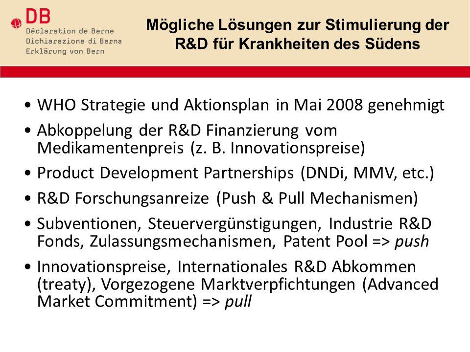 WHO Strategie und Aktionsplan in Mai 2008 genehmigt Abkoppelung der R&D Finanzierung vom Medikamentenpreis (z.