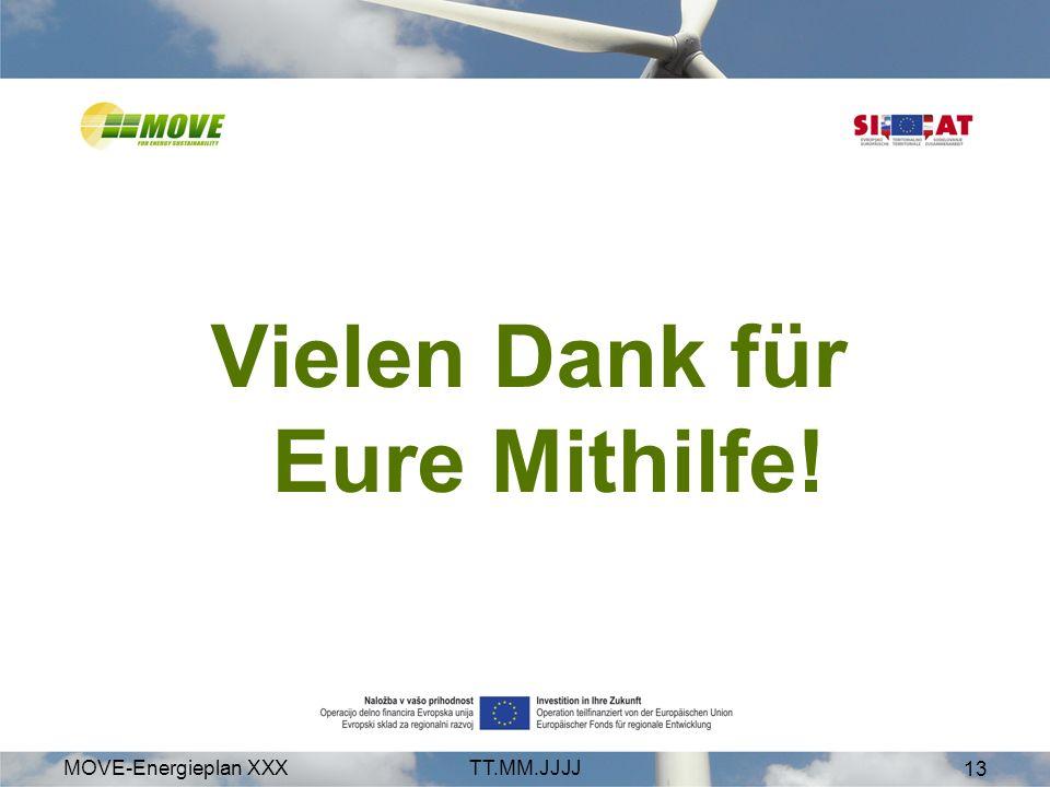 MOVE-Energieplan XXXTT.MM.JJJJ 13 Vielen Dank für Eure Mithilfe!