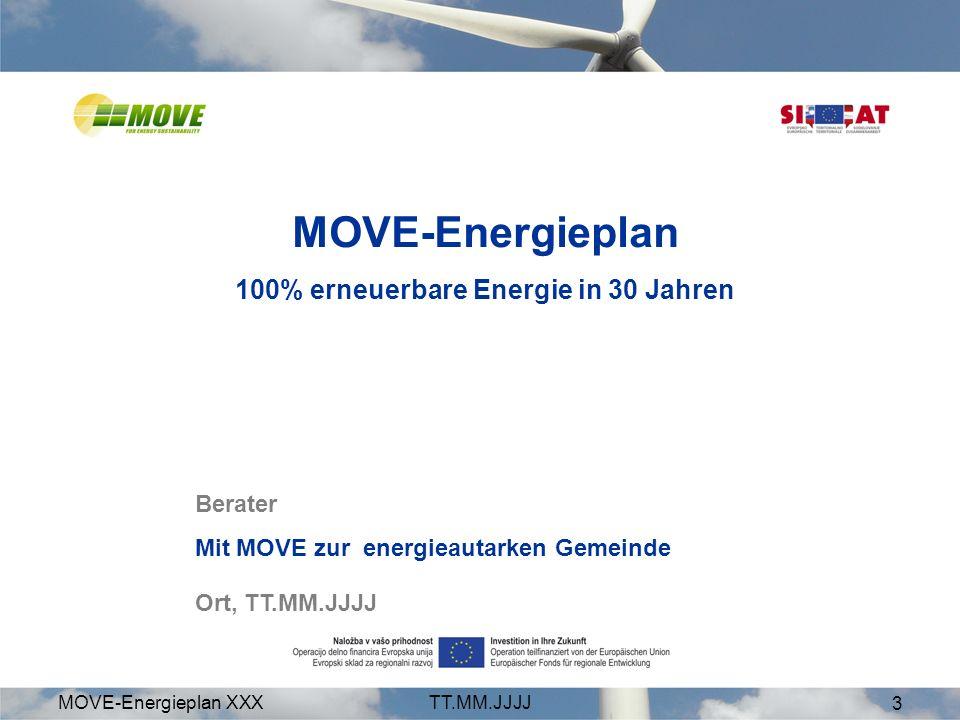 MOVE-Energieplan XXXTT.MM.JJJJ 3 Berater Mit MOVE zur energieautarken Gemeinde Ort, TT.MM.JJJJ MOVE-Energieplan 100% erneuerbare Energie in 30 Jahren