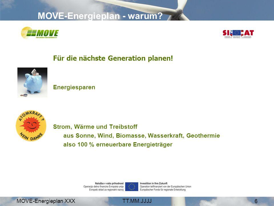 MOVE-Energieplan XXXTT.MM.JJJJ 6 MOVE-Energieplan - warum? Für die nächste Generation planen! Energiesparen Strom, Wärme und Treibstoff aus Sonne, Win