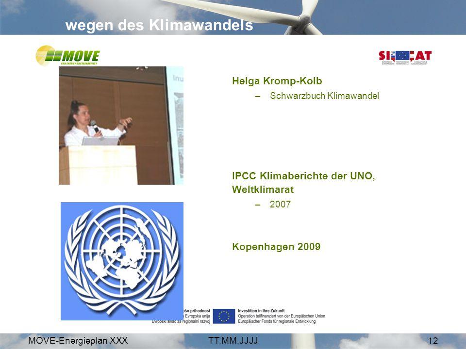 MOVE-Energieplan XXXTT.MM.JJJJ 12 wegen des Klimawandels Helga Kromp-Kolb –Schwarzbuch Klimawandel IPCC Klimaberichte der UNO, Weltklimarat –2007 Kope