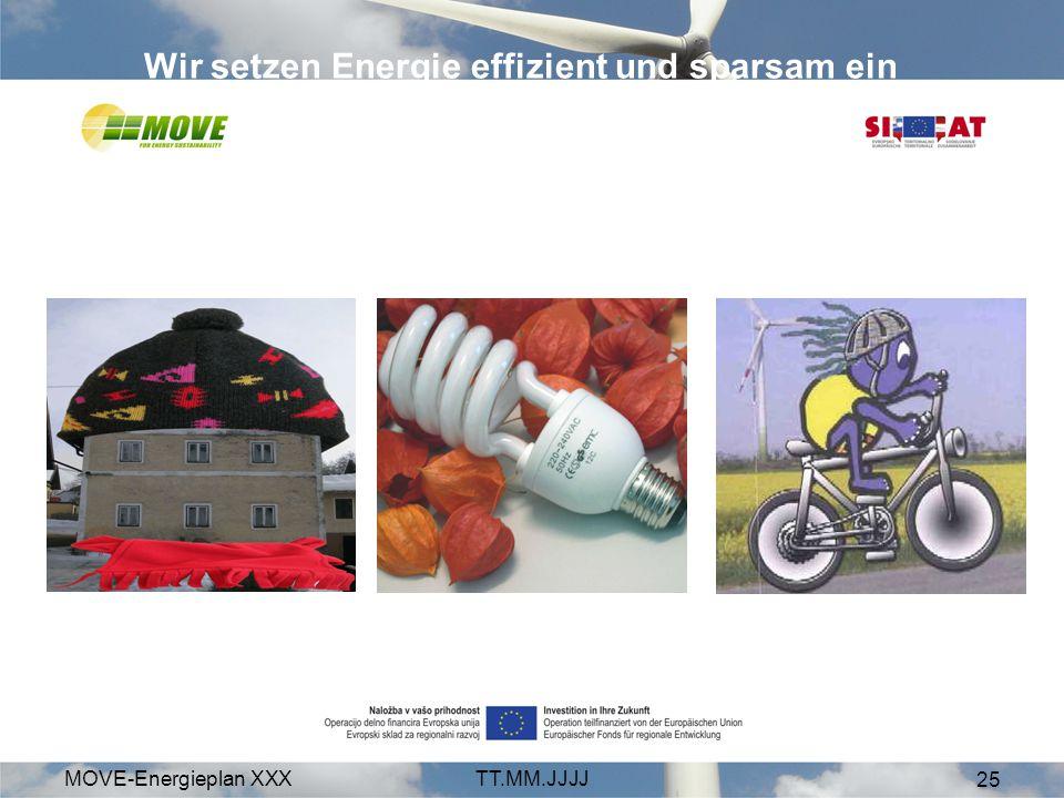 MOVE-Energieplan XXXTT.MM.JJJJ 25 Wir setzen Energie effizient und sparsam ein