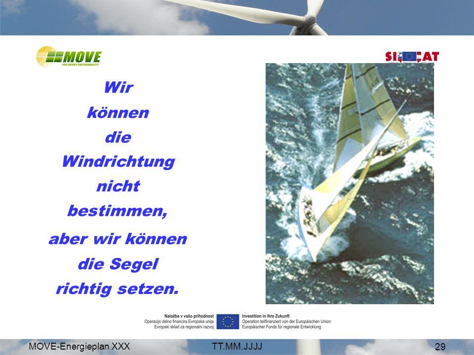 MOVE-Energieplan XXXTT.MM.JJJJ 29 Wir können die Windrichtung nicht bestimmen, aber wir können die Segel richtig setzen.
