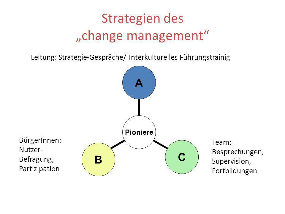 Strategien des change management Pioniere ACB Leitung: Strategie-Gespräche/ Interkulturelles Führungstrainig BürgerInnen: Nutzer- Befragung, Partizipa