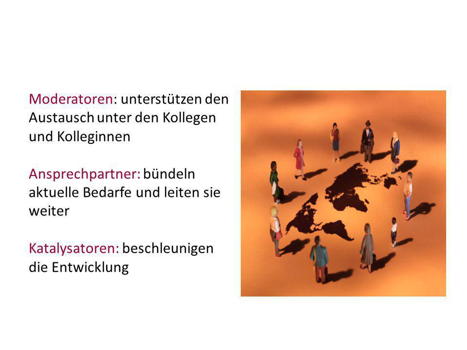 Moderatoren: unterstützen den Austausch unter den Kollegen und Kolleginnen Ansprechpartner: bündeln aktuelle Bedarfe und leiten sie weiter Katalysator