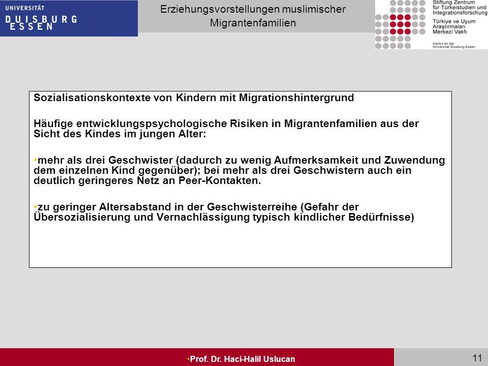 Seite 11 Erziehungsvorstellungen muslimischer Migrantenfamilien Prof. Dr. Haci-Halil Uslucan 11 Sozialisationskontexte von Kindern mit Migrationshinte