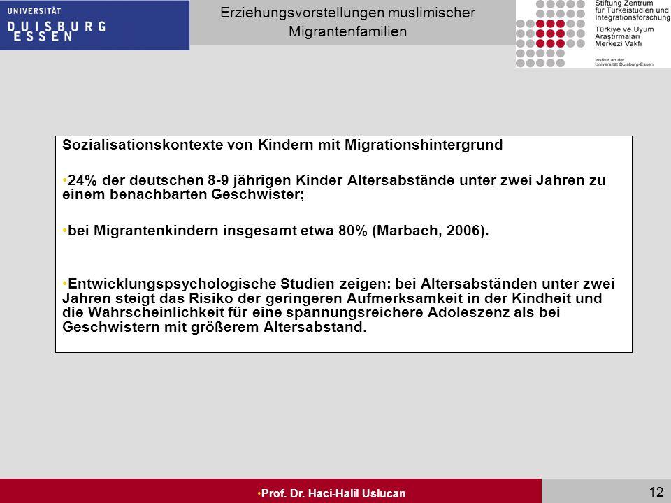 Seite 12 Erziehungsvorstellungen muslimischer Migrantenfamilien Prof. Dr. Haci-Halil Uslucan 12 Sozialisationskontexte von Kindern mit Migrationshinte