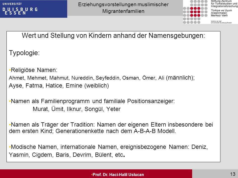 Seite 13 Erziehungsvorstellungen muslimischer Migrantenfamilien Prof. Dr. Haci-Halil Uslucan 13 Wert und Stellung von Kindern anhand der Namensgebunge