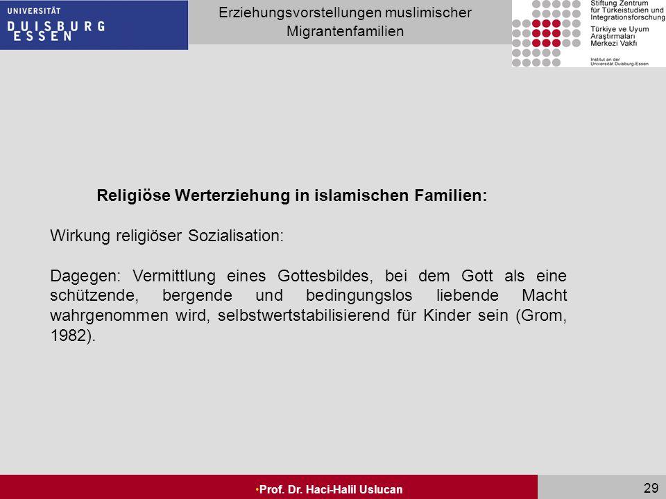 Seite 29 Erziehungsvorstellungen muslimischer Migrantenfamilien Prof. Dr. Haci-Halil Uslucan 29 Religiöse Werterziehung in islamischen Familien: Wirku