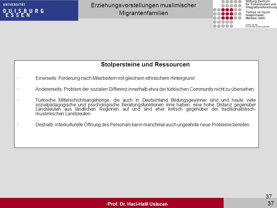 Seite 37 Erziehungsvorstellungen muslimischer Migrantenfamilien Prof. Dr. Haci-Halil Uslucan 37 Stolpersteine und Ressourcen Einerseits: Forderung nac