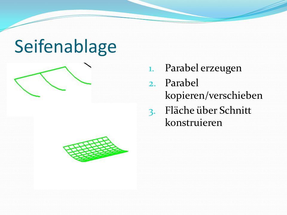 Seifenablage 1. Parabel erzeugen 2. Parabel kopieren/verschieben 3. Fläche über Schnitt konstruieren