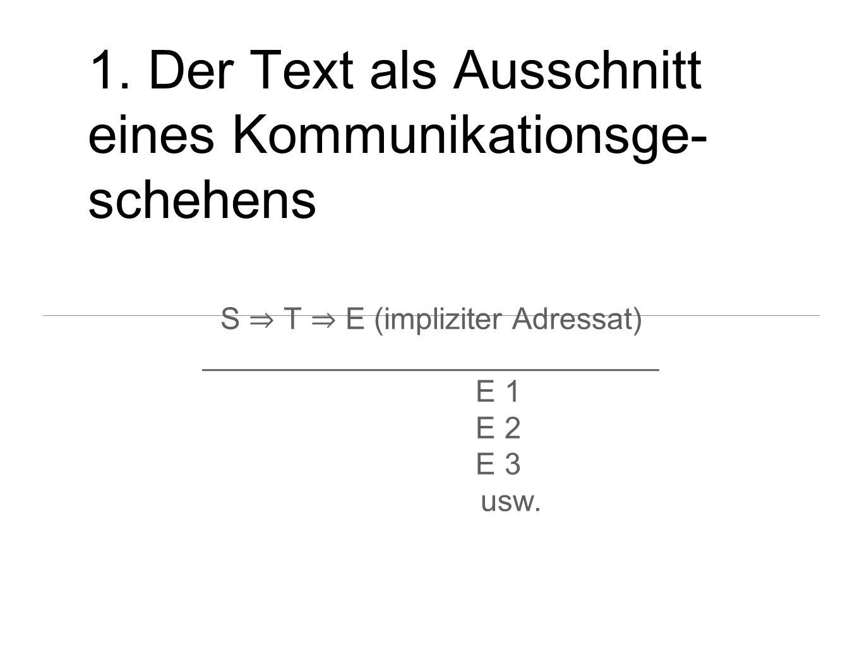 1. Der Text als Ausschnitt eines Kommunikationsge- schehens S T E (impliziter Adressat) ___________________________ E 1 E 2 E 3 usw.