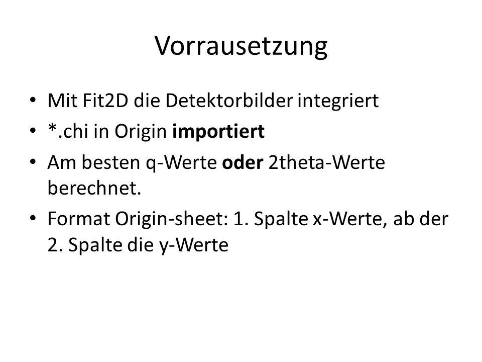 Vorrausetzung Mit Fit2D die Detektorbilder integriert *.chi in Origin importiert Am besten q-Werte oder 2theta-Werte berechnet.