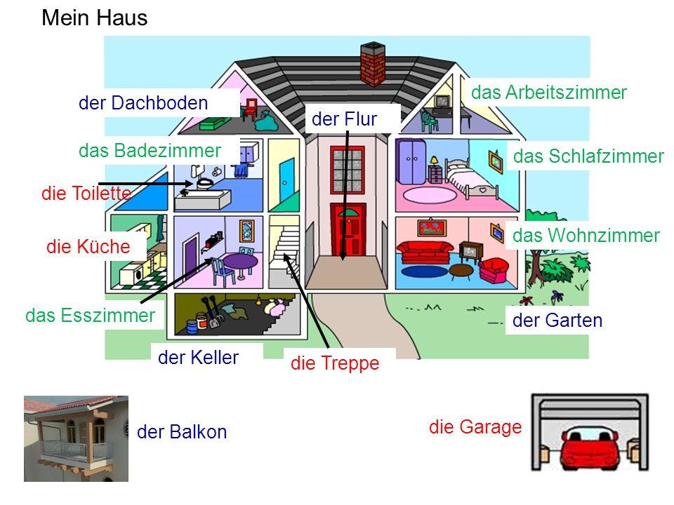 der Keller der Dachboden das Schlafzimmer der Flur das Esszimmer der Garten die Küche das Wohnzimmer das Badezimmer die Treppe das Arbeitszimmer Mein