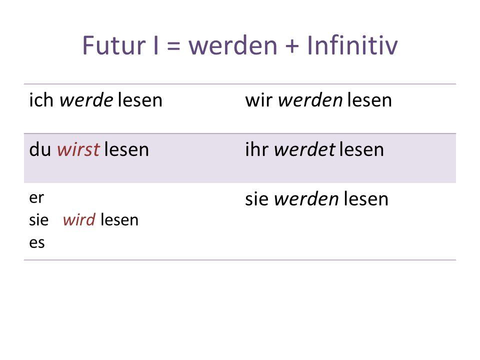 Futur I = werden + Infinitiv ich werde lesenwir werden lesen du wirst lesenihr werdet lesen er sie wird lesen es sie werden lesen
