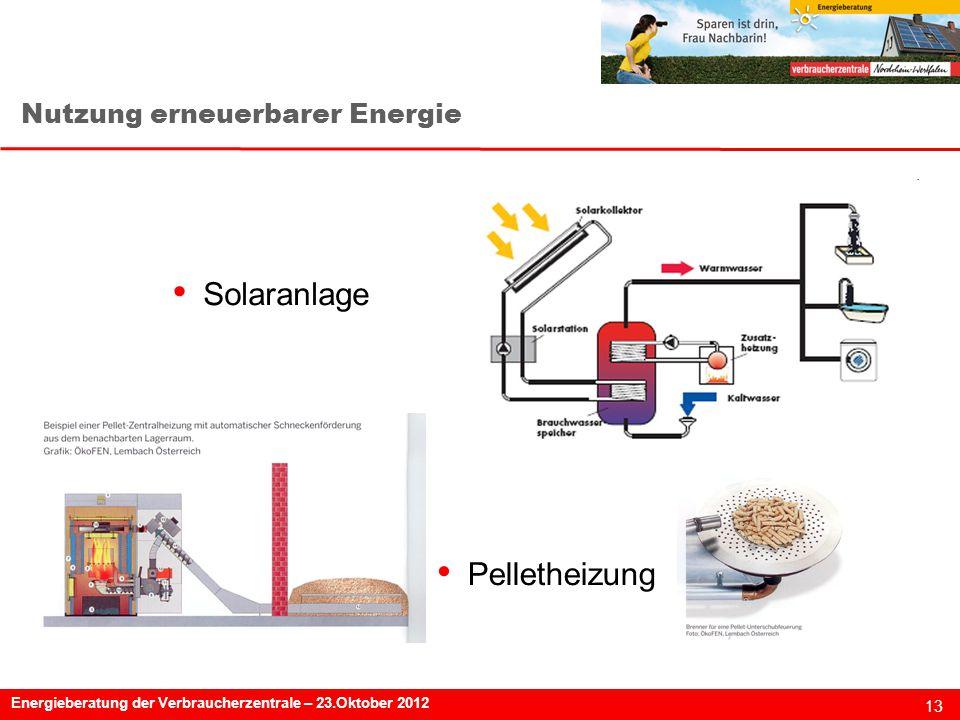 13 Energieberatung der Verbraucherzentrale – 23.Oktober 2012 Nutzung erneuerbarer Energie Solaranlage Pelletheizung