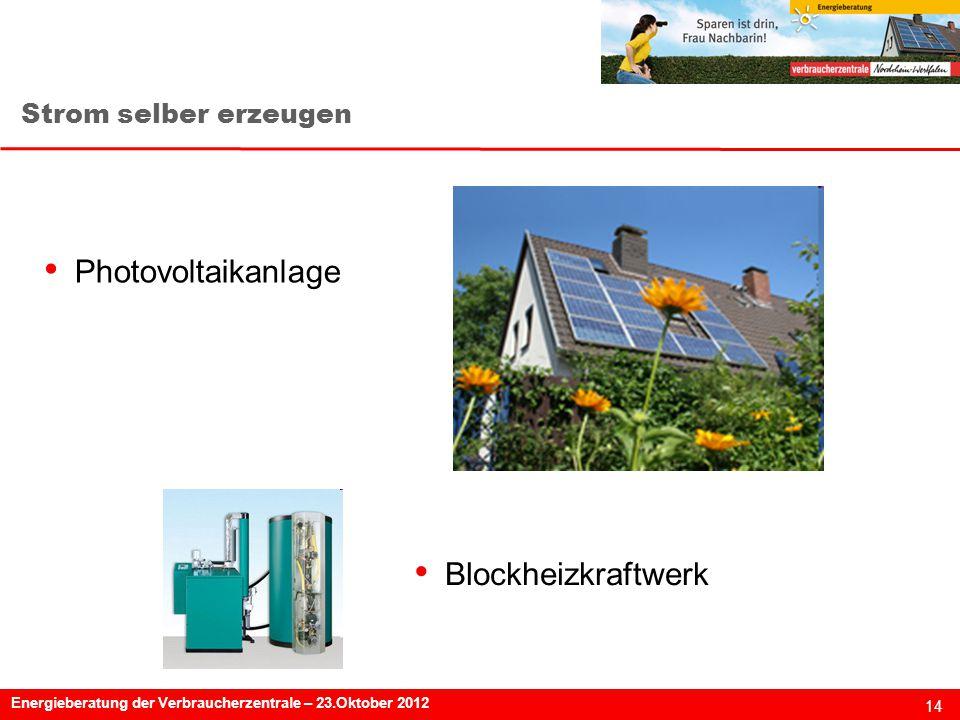14 Energieberatung der Verbraucherzentrale – 23.Oktober 2012 Strom selber erzeugen Photovoltaikanlage Blockheizkraftwerk