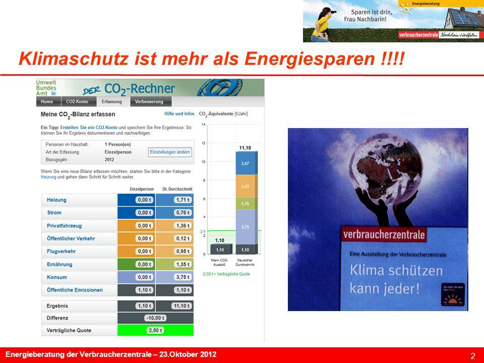 2 Energieberatung der Verbraucherzentrale – 23.Oktober 2012 Klimaschutz ist mehr als Energiesparen !!!!