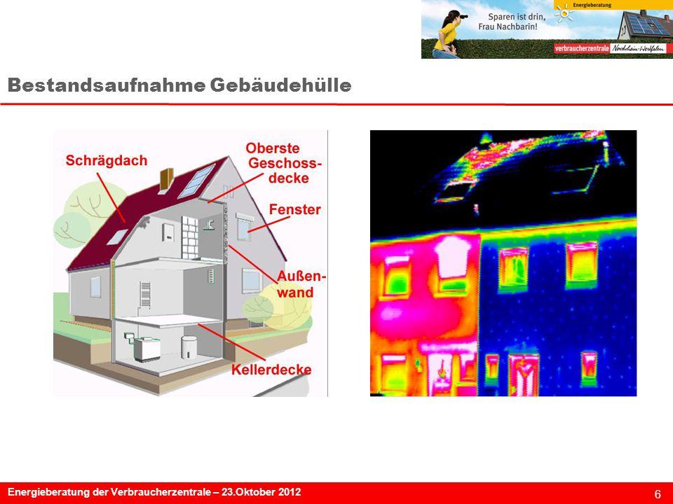6 Energieberatung der Verbraucherzentrale – 23.Oktober 2012 Bestandsaufnahme Gebäudehülle