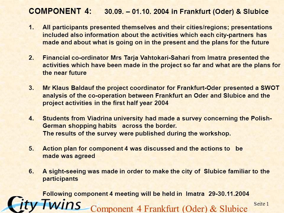 Component 4 Frankfurt (Oder) & Slubice Seite 1 COMPONENT 4: 30.09.