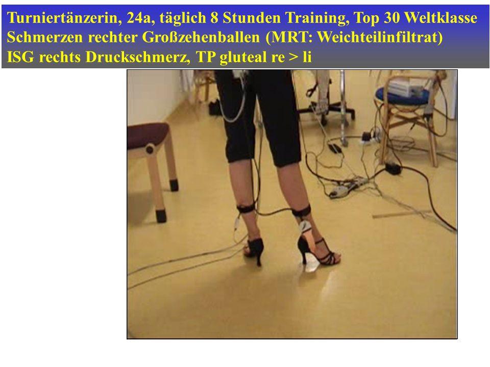 Turniertänzerin, 24a, täglich 8 Stunden Training, Top 30 Weltklasse Schmerzen rechter Großzehenballen (MRT: Weichteilinfiltrat) ISG rechts Druckschmer