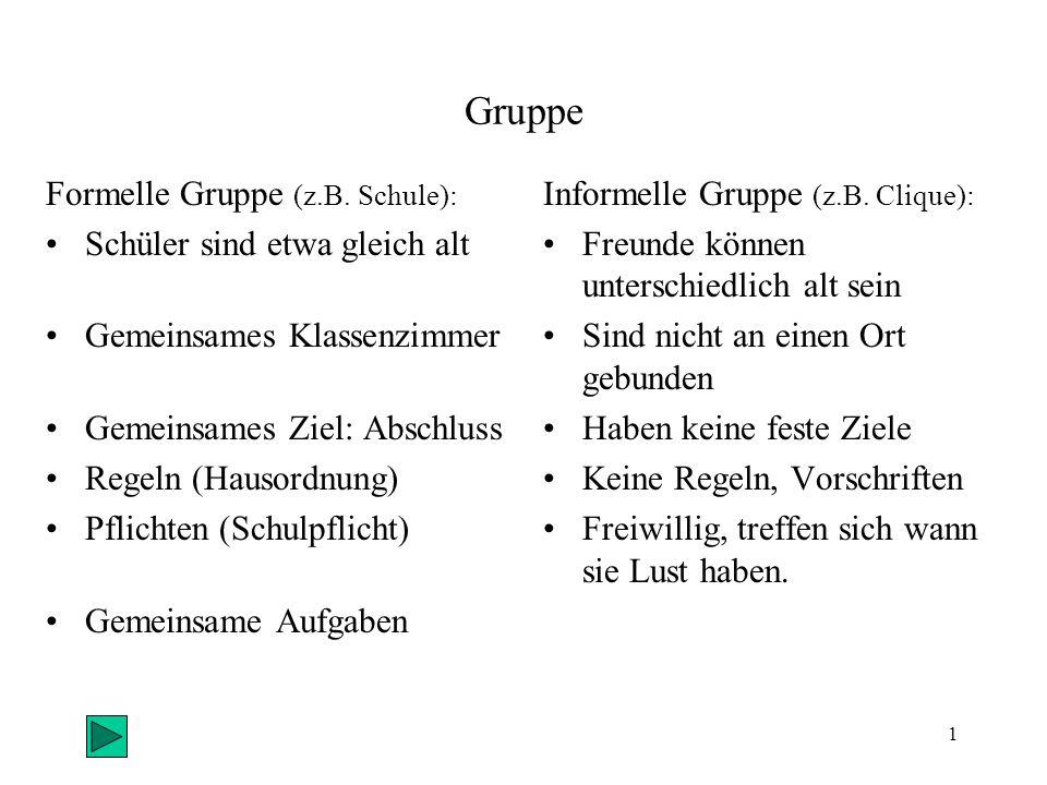1 Gruppe Formelle Gruppe (z.B.