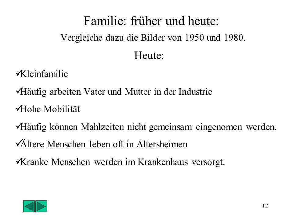 11 Familie: früher und heute: ( Vergleiche dazu die Bilder von 1950 und 1980.) Früher : Mehrere Generationen leben unter einem Dach Arbeit auf dem Fel