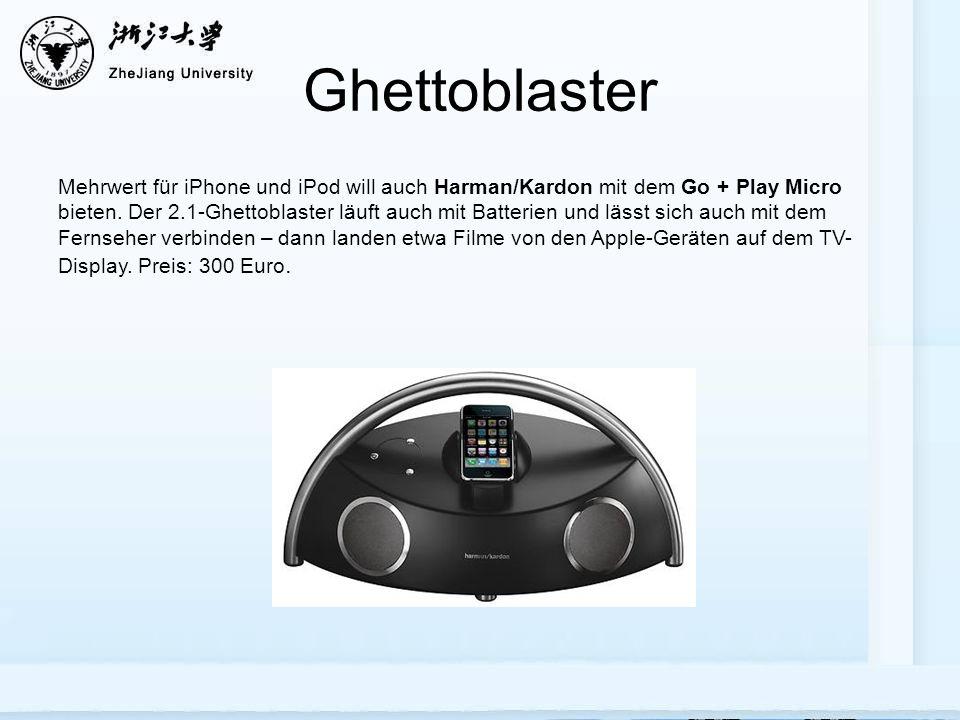 Ghettoblaster Mehrwert für iPhone und iPod will auch Harman/Kardon mit dem Go + Play Micro bieten.