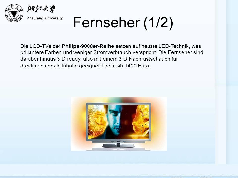 Fernseher (1/2) Die LCD-TVs der Philips-9000er-Reihe setzen auf neuste LED-Technik, was brillantere Farben und weniger Stromverbrauch verspricht.
