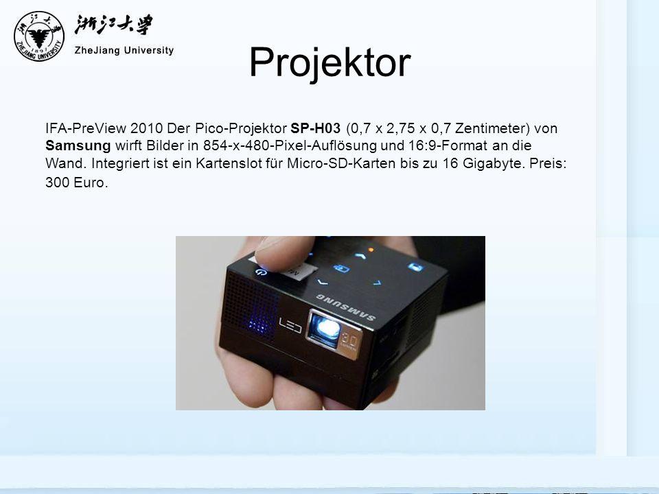 Projektor IFA-PreView 2010 Der Pico-Projektor SP-H03 (0,7 x 2,75 x 0,7 Zentimeter) von Samsung wirft Bilder in 854-x-480-Pixel-Auflösung und 16:9-Format an die Wand.