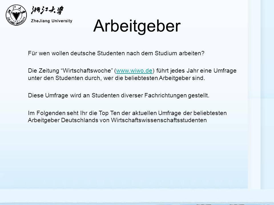 Arbeitgeber Für wen wollen deutsche Studenten nach dem Studium arbeiten? Die Zeitung Wirtschaftswoche (www.wiwo.de) führt jedes Jahr eine Umfrage unte