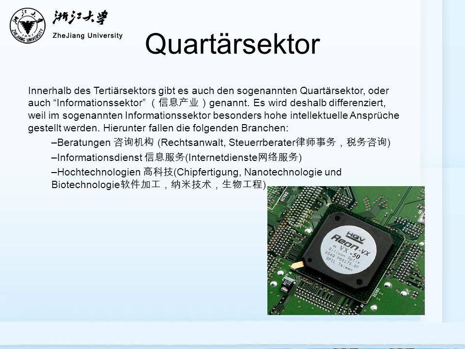 Quartärsektor Innerhalb des Tertiärsektors gibt es auch den sogenannten Quartärsektor, oder auch Informationssektor genannt. Es wird deshalb differenz