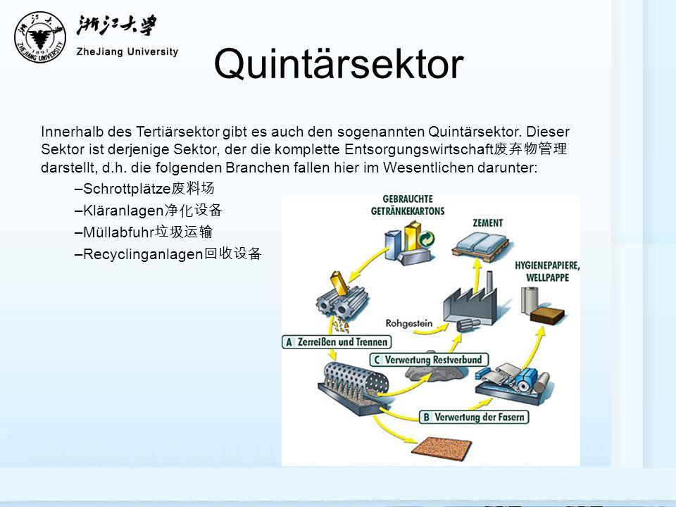 Quintärsektor Innerhalb des Tertiärsektor gibt es auch den sogenannten Quintärsektor. Dieser Sektor ist derjenige Sektor, der die komplette Entsorgung
