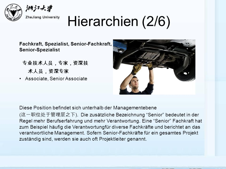 Hierarchien (2/6) Fachkraft, Spezialist, Senior-Fachkraft, Senior-Spezialist Associate, Senior Associate Diese Position befindet sich unterhalb der Ma