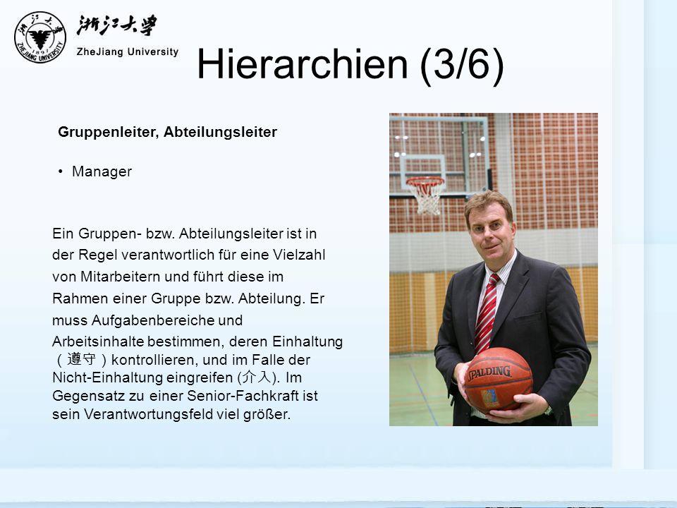 Hierarchien (3/6) Gruppenleiter, Abteilungsleiter Manager Ein Gruppen- bzw. Abteilungsleiter ist in der Regel verantwortlich für eine Vielzahl von Mit