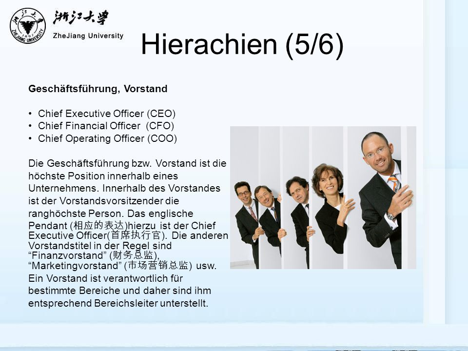 Hierachien (5/6) Geschäftsführung, Vorstand Chief Executive Officer (CEO) Chief Financial Officer (CFO) Chief Operating Officer (COO) Die Geschäftsfüh