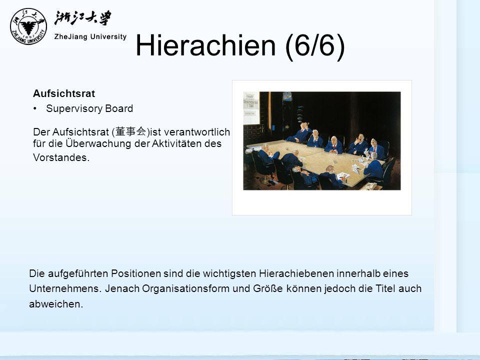 Hierachien (6/6) Aufsichtsrat Supervisory Board Die aufgeführten Positionen sind die wichtigsten Hierachiebenen innerhalb eines Unternehmens.