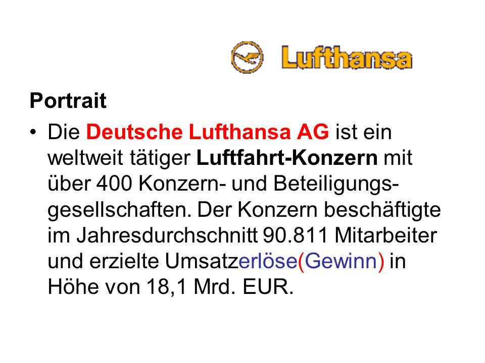 Portrait Die Deutsche Lufthansa AG ist ein weltweit tätiger Luftfahrt-Konzern mit über 400 Konzern- und Beteiligungs- gesellschaften. Der Konzern besc