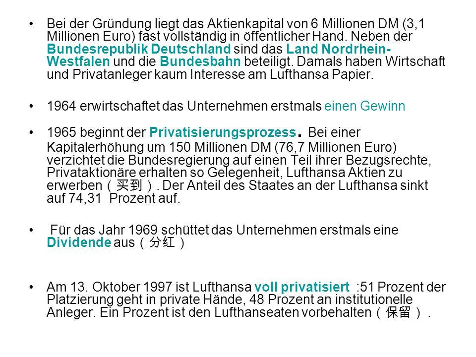 Bei der Gründung liegt das Aktienkapital von 6 Millionen DM (3,1 Millionen Euro) fast vollständig in öffentlicher Hand. Neben der Bundesrepublik Deuts