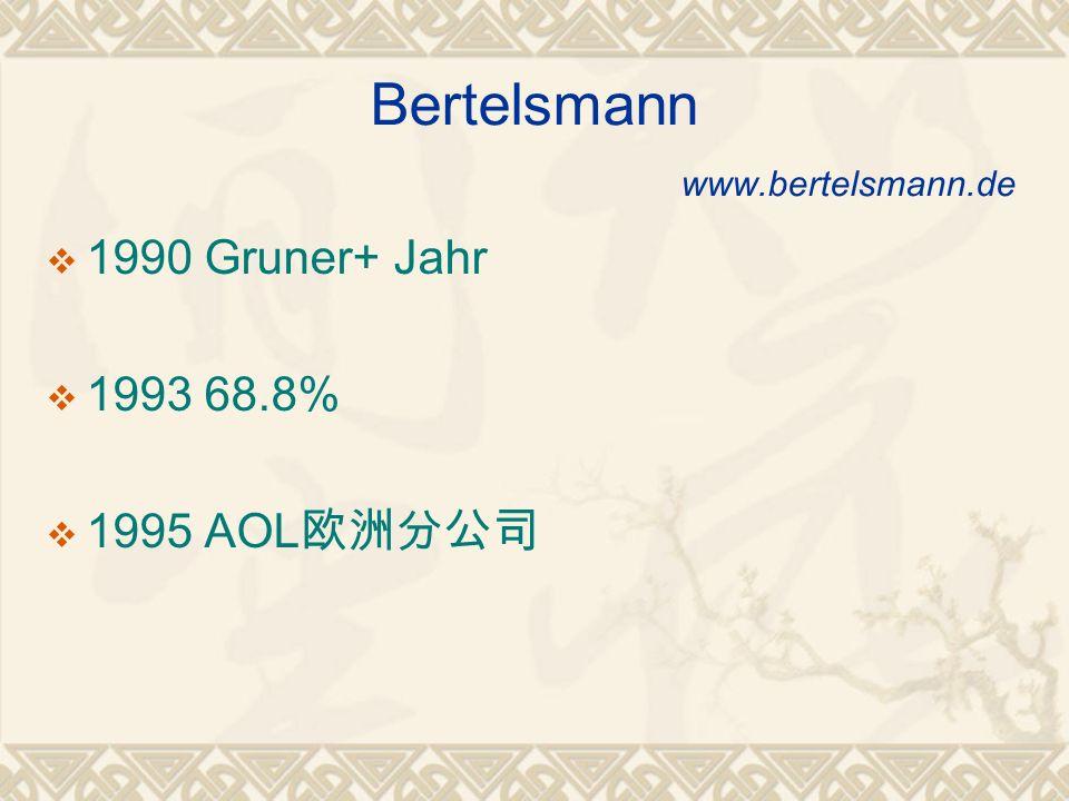 Bertelsmann www.bertelsmann.de 1990 Gruner+ Jahr 1993 68.8% 1995 AOL