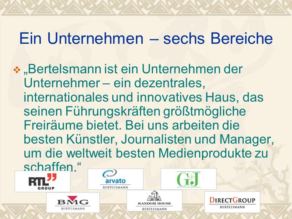 Ein Unternehmen – sechs Bereiche Bertelsmann ist ein Unternehmen der Unternehmer – ein dezentrales, internationales und innovatives Haus, das seinen Führungskräften größtmögliche Freiräume bietet.