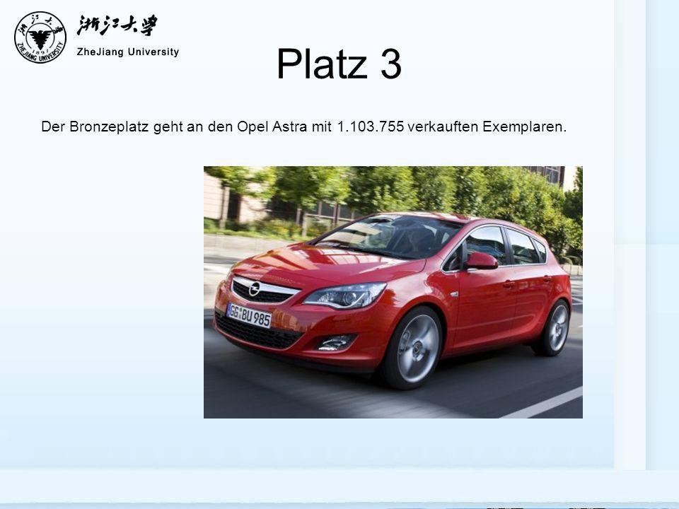 Platz 3 Der Bronzeplatz geht an den Opel Astra mit 1.103.755 verkauften Exemplaren.