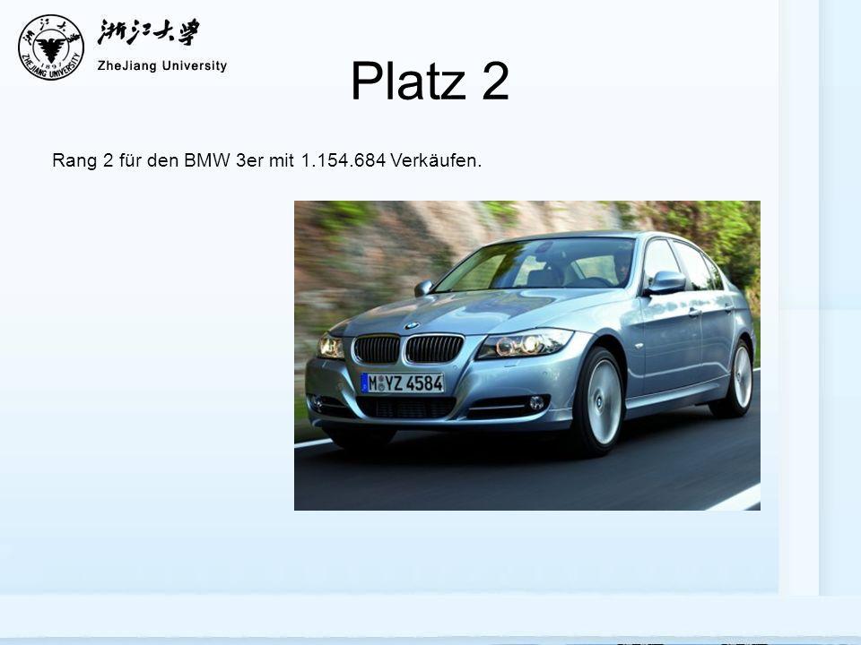Platz 2 Rang 2 für den BMW 3er mit 1.154.684 Verkäufen.